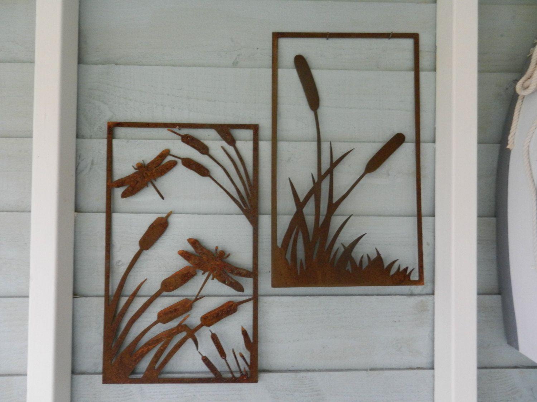 Bull rush reeds metal wall art dragonfly wall art