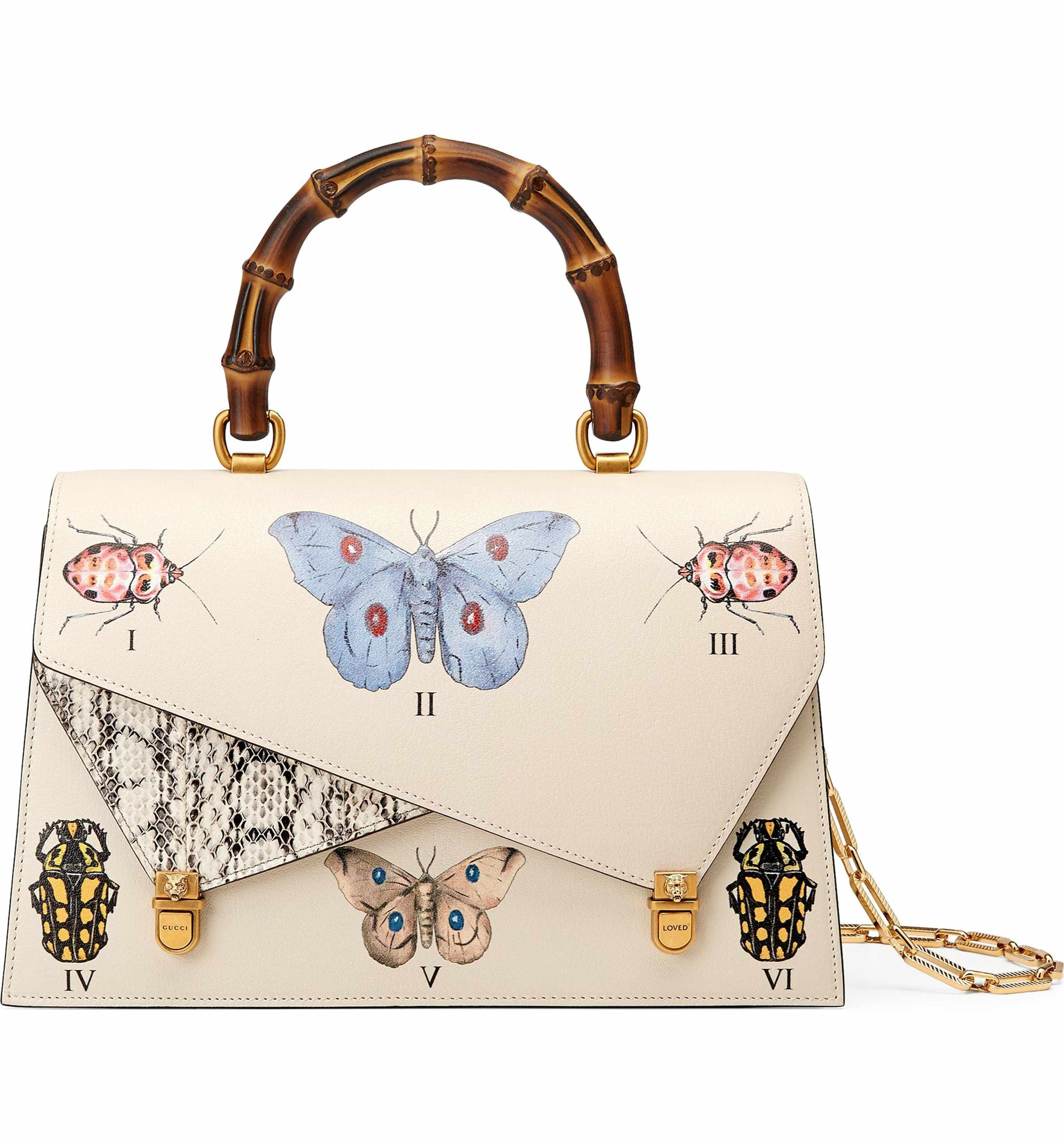 Main Image Gucci Medium Linea P Butterfly Painted Leather Genuine Snakeskin Top Handle Satchel Leather Purses Butterfly Handbag Leather Handbags