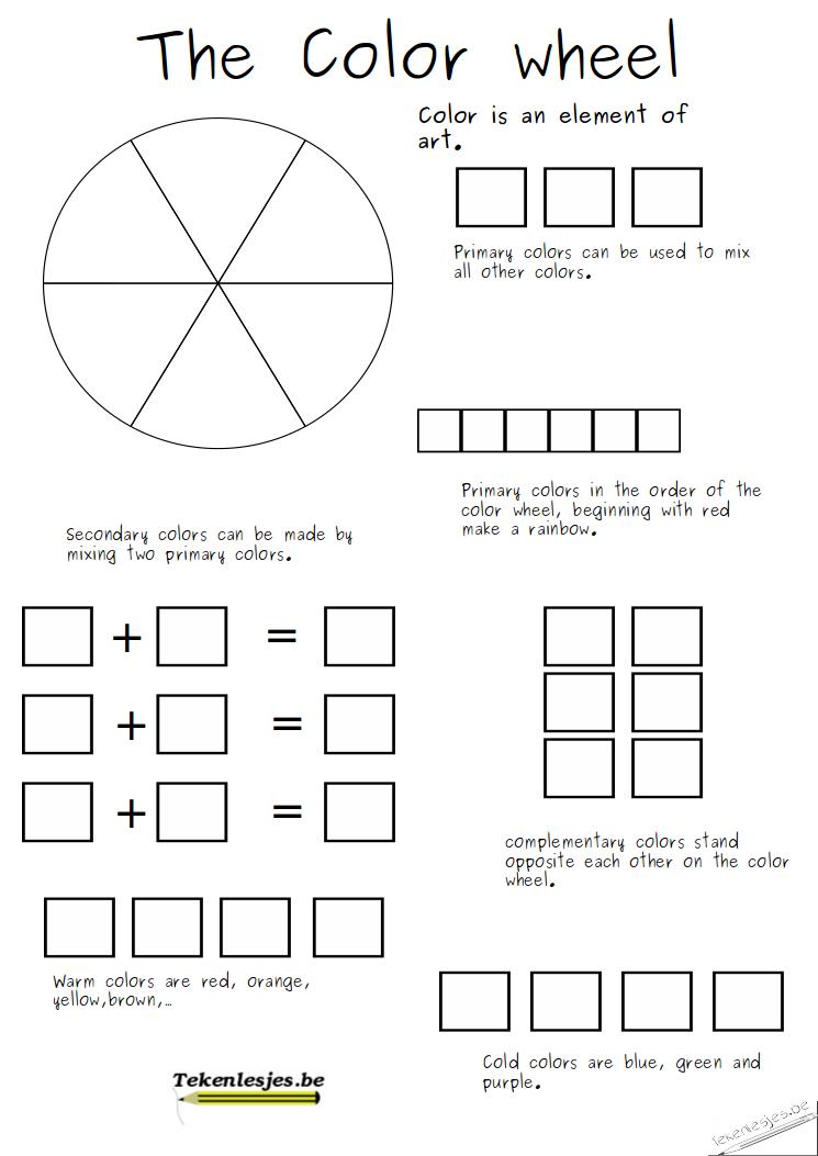 Colorwheel Worksheet For Blog After School Pinterest