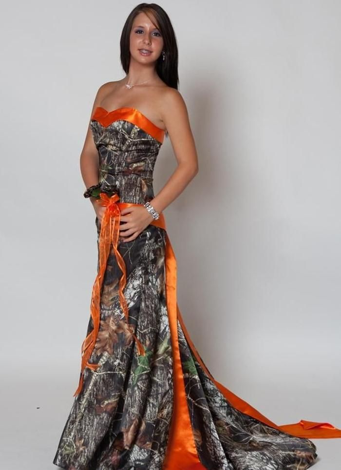 6e47eb7ad18b7 camouflage prom dress | Orange Camo Wedding Dresses | tina wedding ...