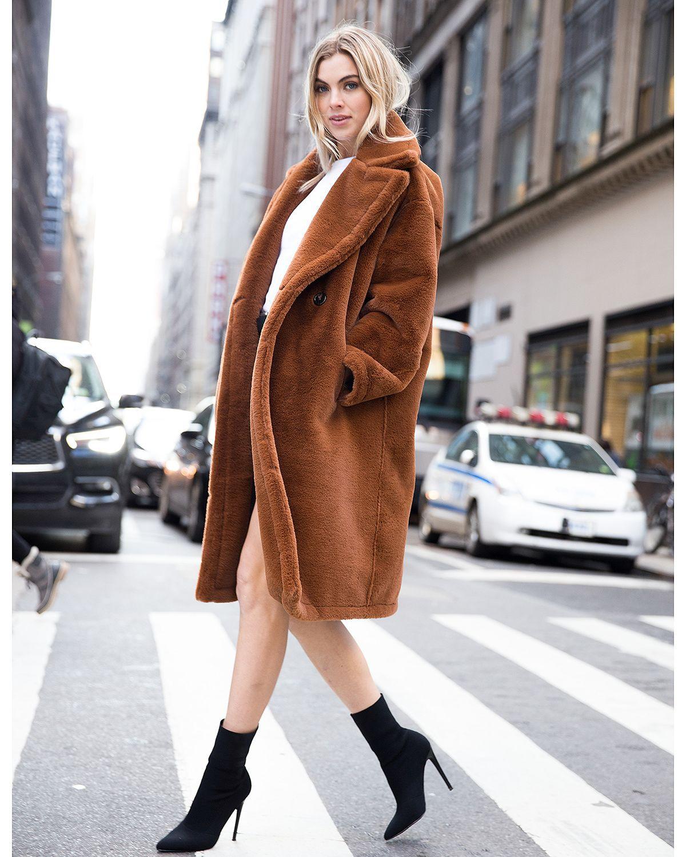 e816ff8e419a AVEC LES FILLES Oversized Double-Breasted Front Teddy Bear Coat ...