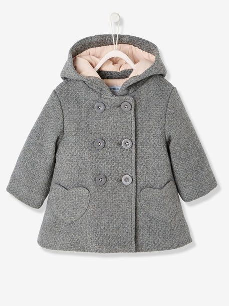 1967aa17b0be Baby Girls  Woollen Coat - GREY MEDIUM MIXED COLOR+PINK DARK SOLID ...