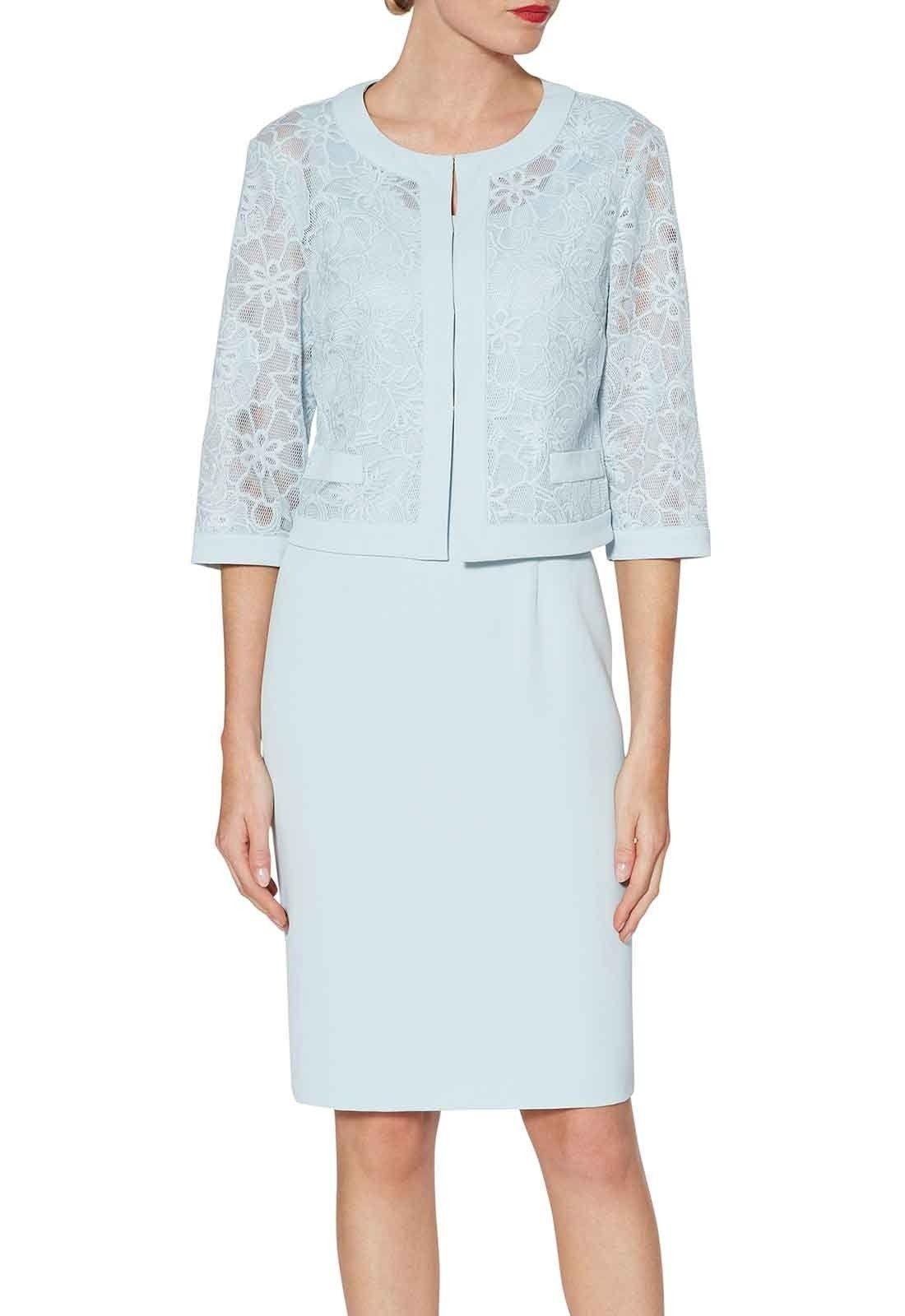 927370a546fef0 Gina Bacconi Trixie Dress And Embroidered Jacket in Blue   Kazak yakası    Embroidered jacket, Dresses, Lace jacket