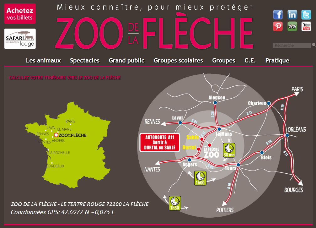 plan pour aller au zoo de la fl che a visiter pr s de chambiers to do close to chambiers. Black Bedroom Furniture Sets. Home Design Ideas