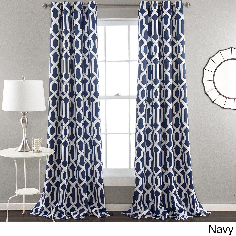 84 Inch Navy Blue White Moroccan Curtains Panel Pair Set Blue Color Drapes Medallion Geometric Trellis Pattern Window Room Darkening Lush Decor Drapes Curtains
