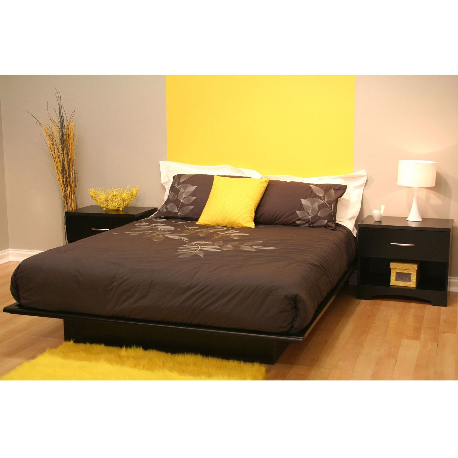 Best Queen Size Modern Platform Bed Frame In Black Wood Finish 400 x 300