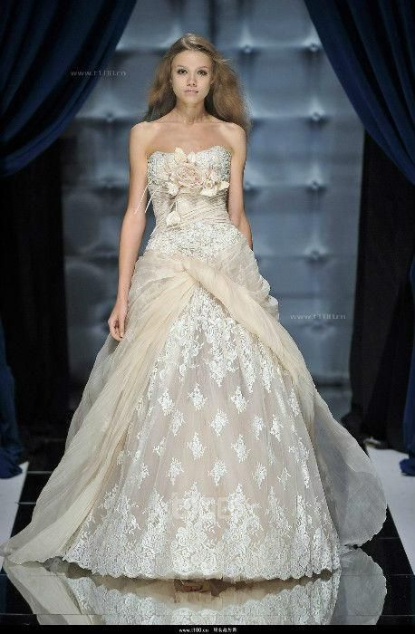 Newest Style Zuhair Murad Bride Dresses Appliques Ivory Lace ...