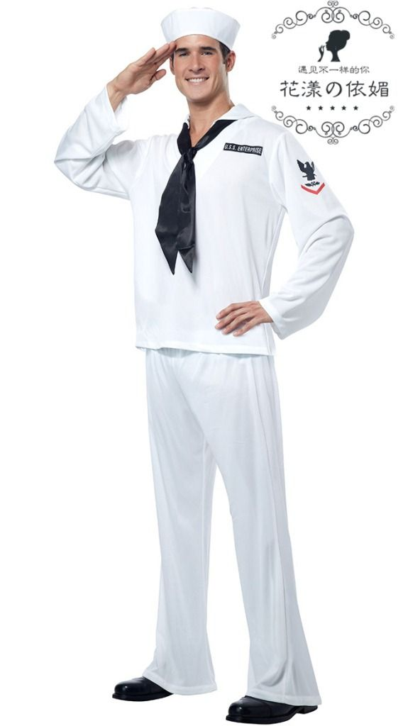Retro US Sailor Military Outfit Adult Halloween Costume