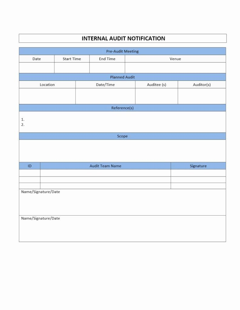 Internal Audit Forms Template In 2020 Audit Report Template