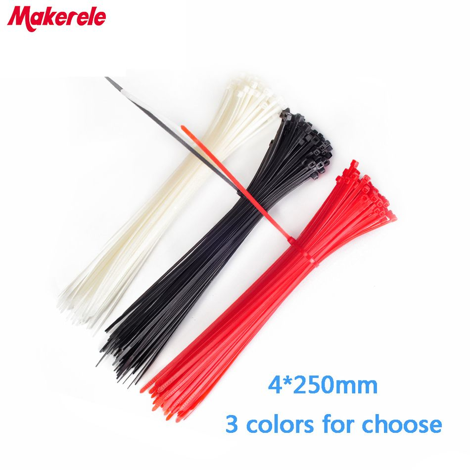 4*250mm Colorful velcro nylon cable ties cable wire tie Self-Locking ...