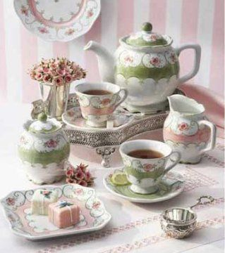 love the pink and green in the tea set and setting