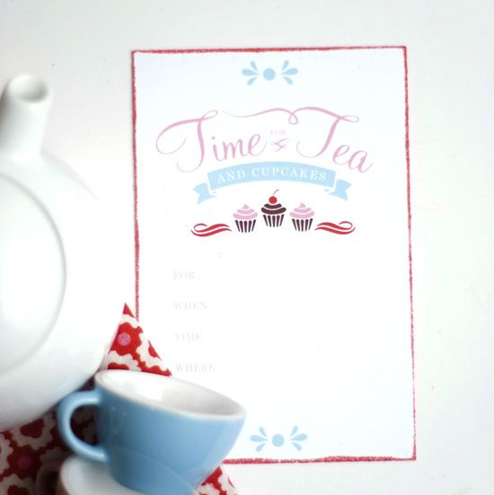 Printable Tea Party Invitations One Charming Party  Tea Party