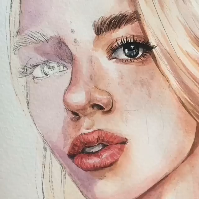 Photo of Red Watercolor Painting Tutorial Lip Draw Paint