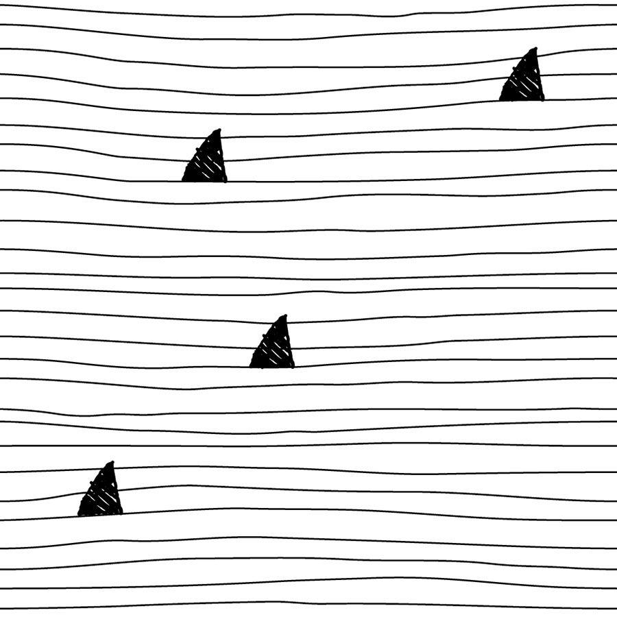 Schwarz Weiß Hai Muster Von Spoonflower Für Tapete, Stoffe Und  Geschenkpapier
