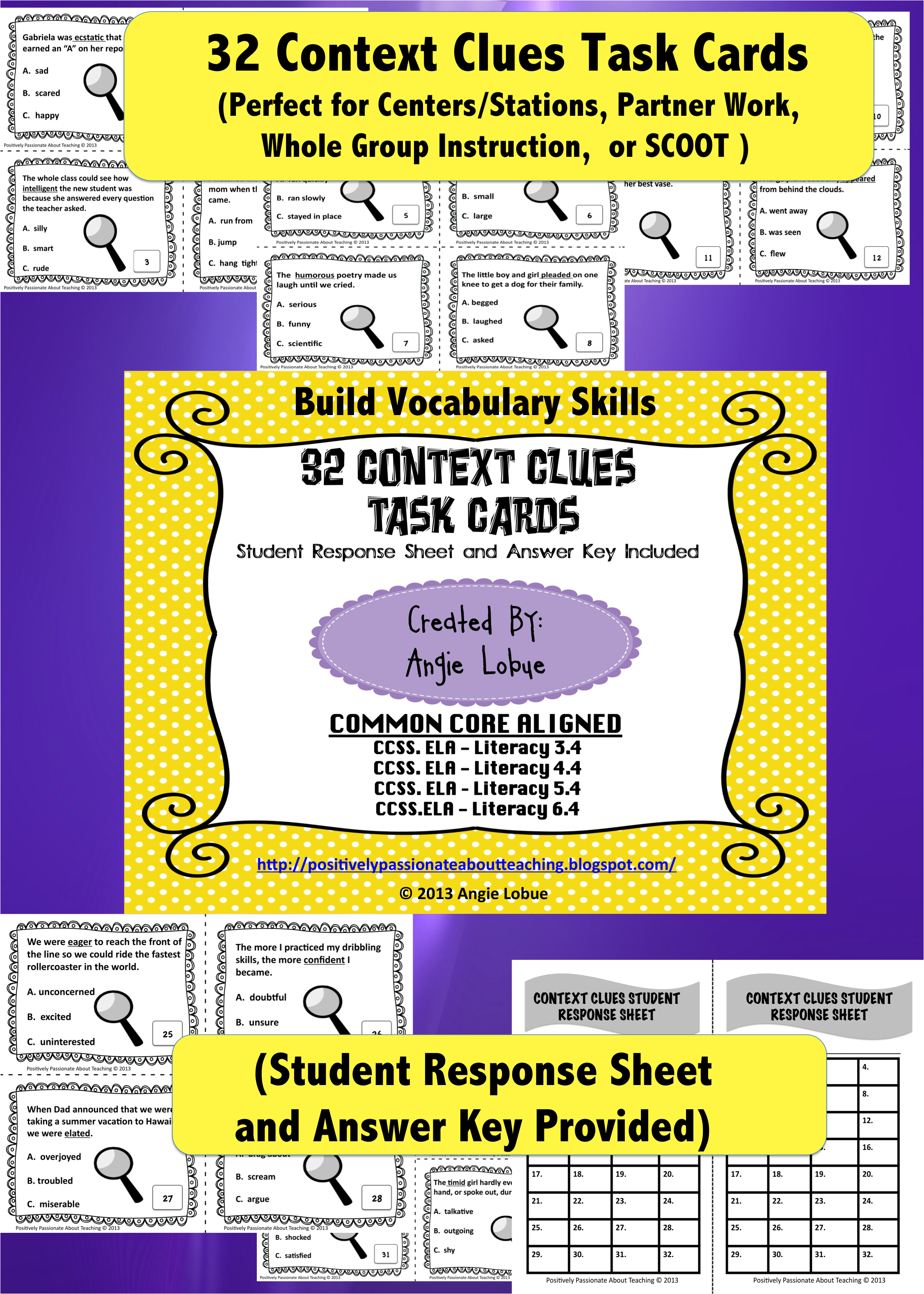 Context Clues Task Cards 32 Vocabulary Cards Common