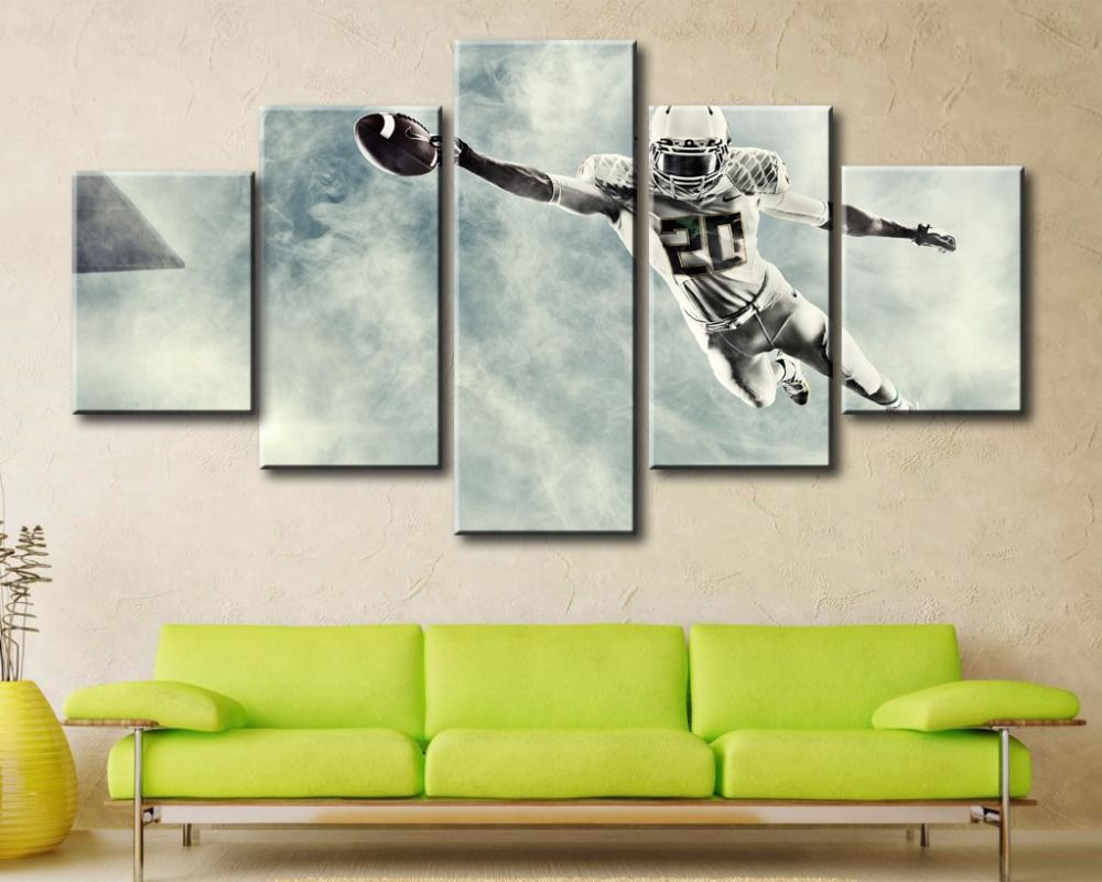 5 Pieces Canvas Painting Decoration Pictures Awesome Rugby Wall Art ...