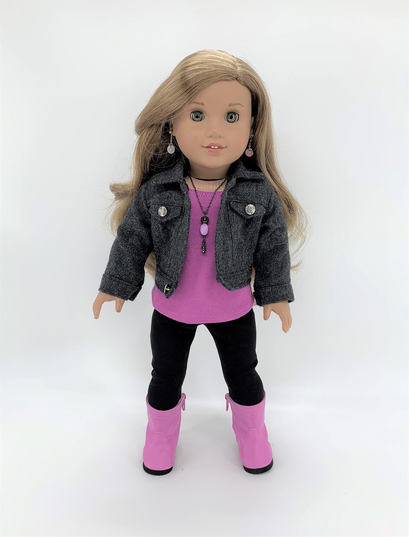 Fits like American Girl Doll Clothes Ruffled Aqua Top and Denim Jeggings