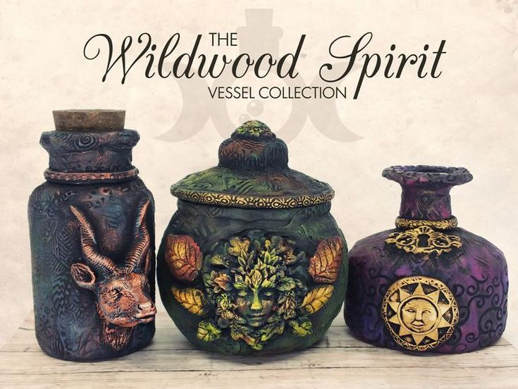 Gazelle Apothecary Jar Potion Bottle / Baphomet Wiccan Altar Clay Apothecary Bottle Gothic Home Deco