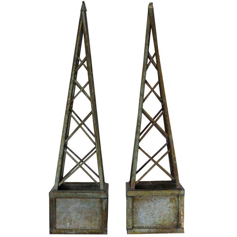 Pair Of Faux Copper Verdigri Metal Obelisk Form Trellis Planters