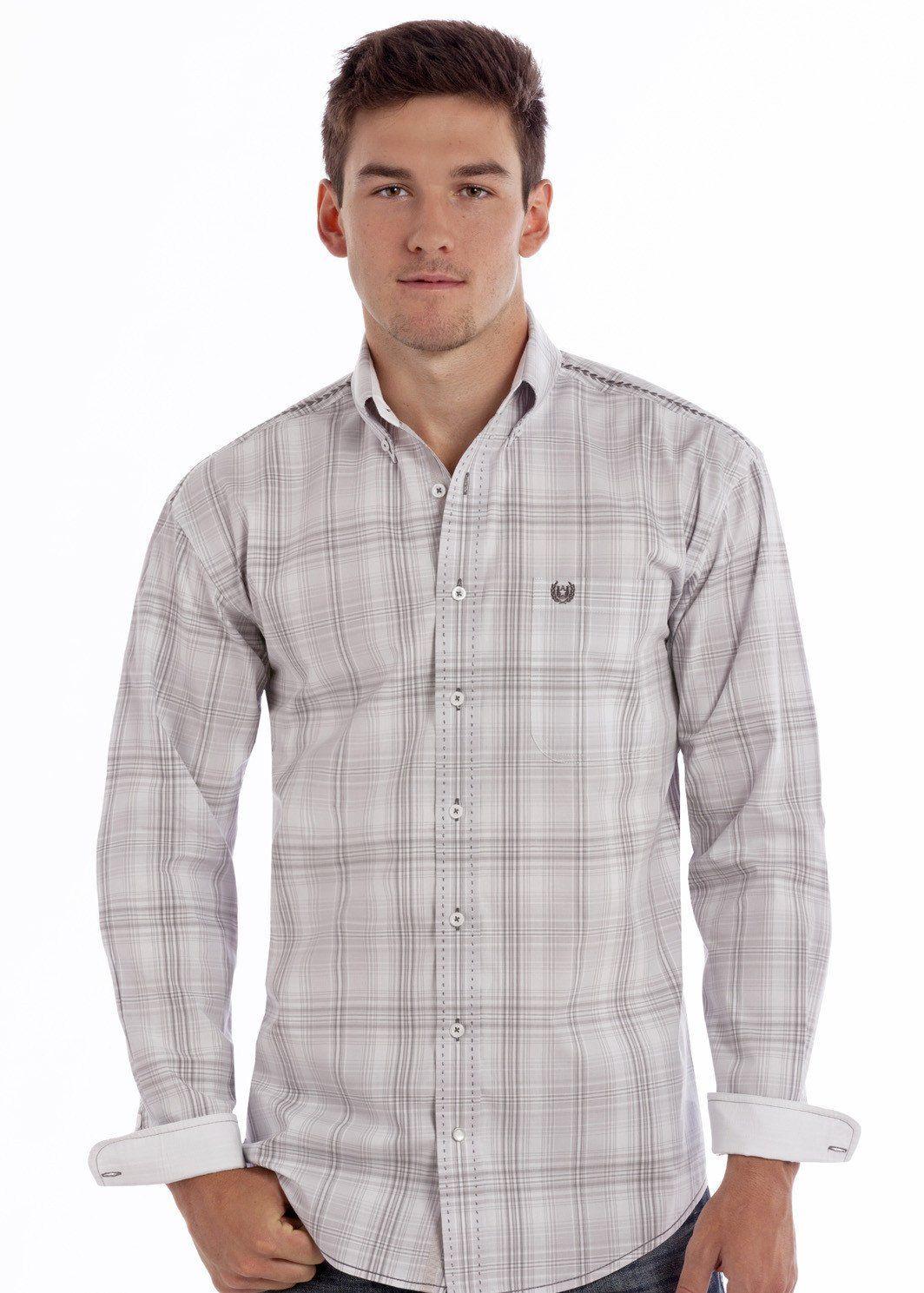 Rough stock menus plaid western long sleeve button up shirt rg