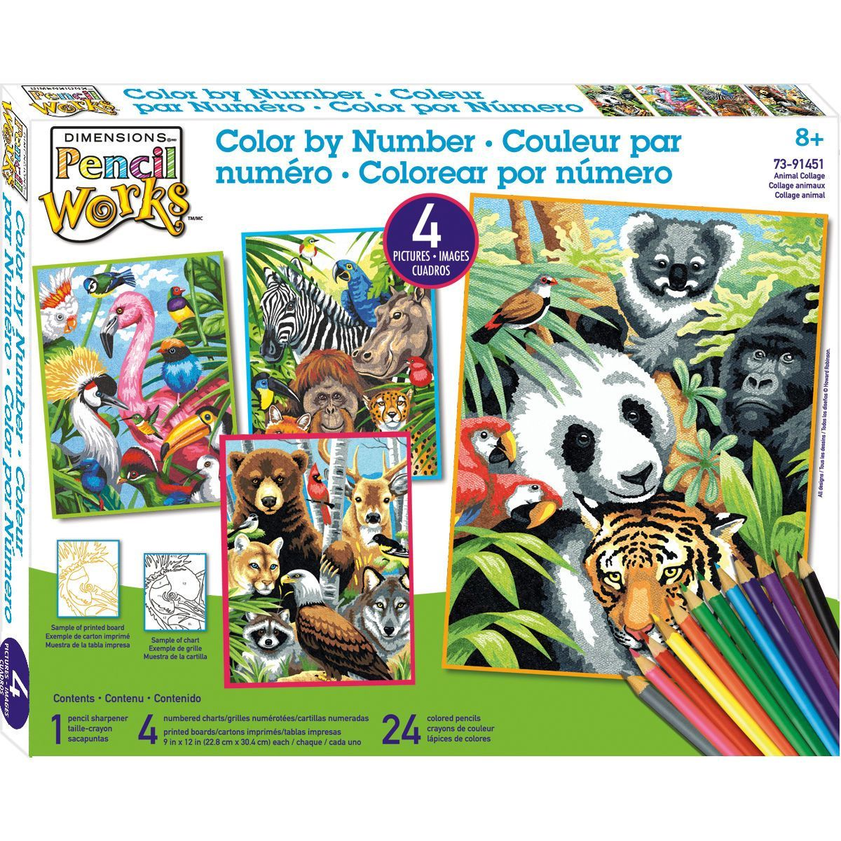Dimensions Pencil Works Color By Number Kit Animal Collage ...