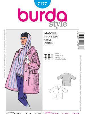Schnittmuster: Kurzer Hüllenmantel mit Kimono-Ärmeln - Download - Jacken und Mäntel - Damen - burda style   7177