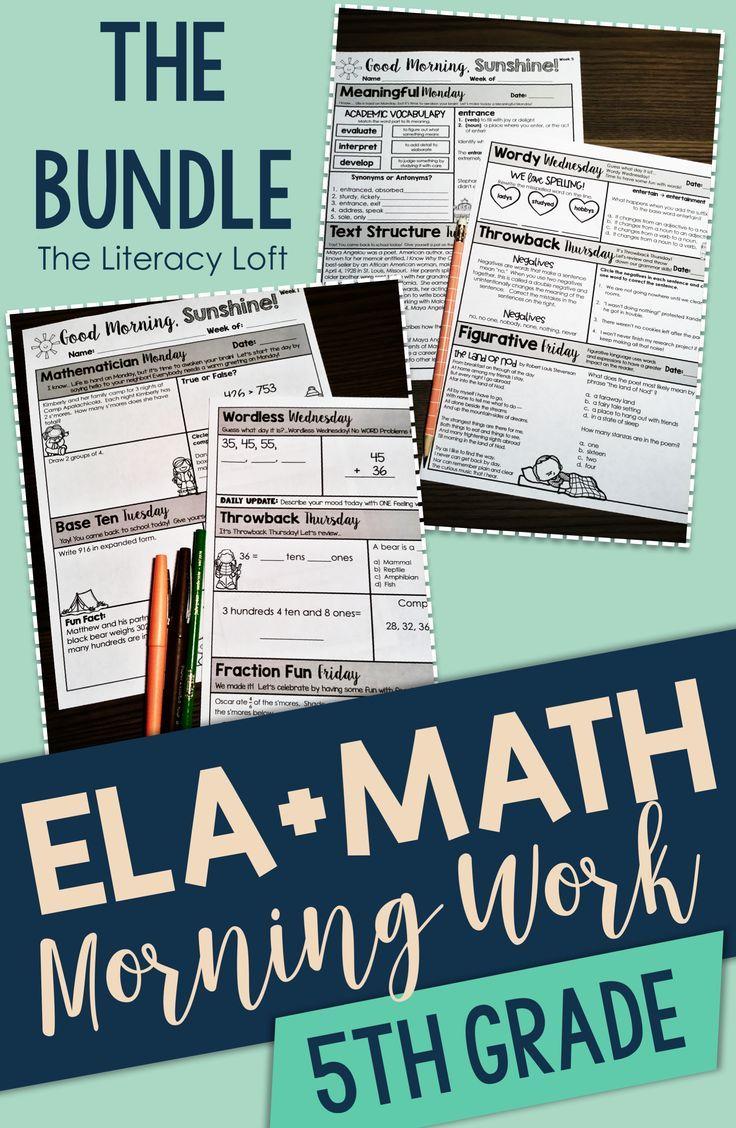 ELA + Math Morning Work 5th Grade {The Bundle} | FREE LESSONS ...