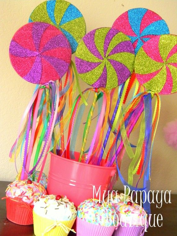 Candyland Party Ideas Part - 46: Little Mermaid Birthday Party Eye Popping Color For Candyland Party Favors  Or Centerpieces - Lollipop Wands