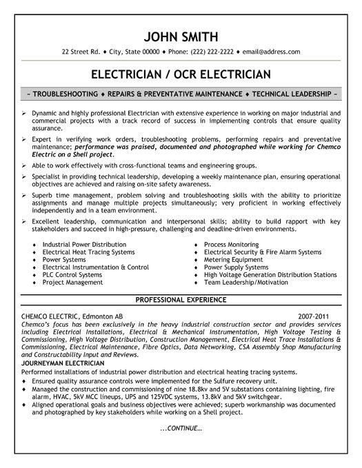 Journeyman Electrician Resume Samples Career Life