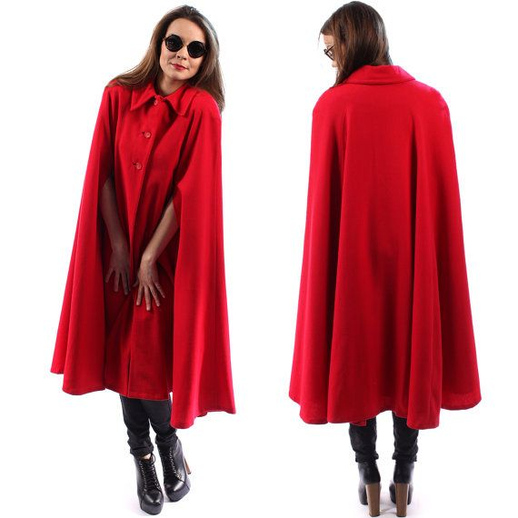 Wool Cape Coat CLOAK Coat Vintage Red Wool Cape Poncho Maxi Hippie ...