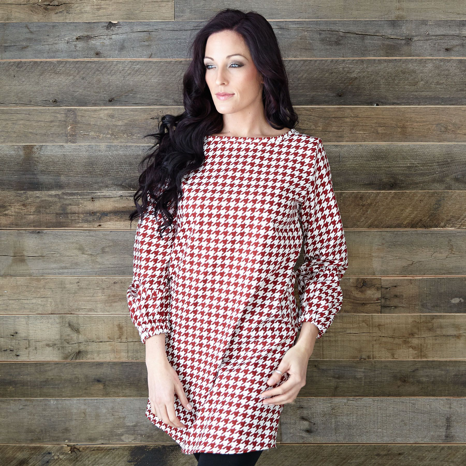 Ladies Red White Houndstooth Tunic