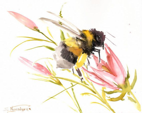 Bumblebee And Flower Original Watercolor Painting By ORIGINALONLY 2800