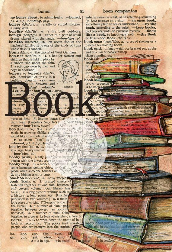 Druck: Buch Mixed Media Zeichnung auf beunruhigt, Wörterbuchseite #framesandborders