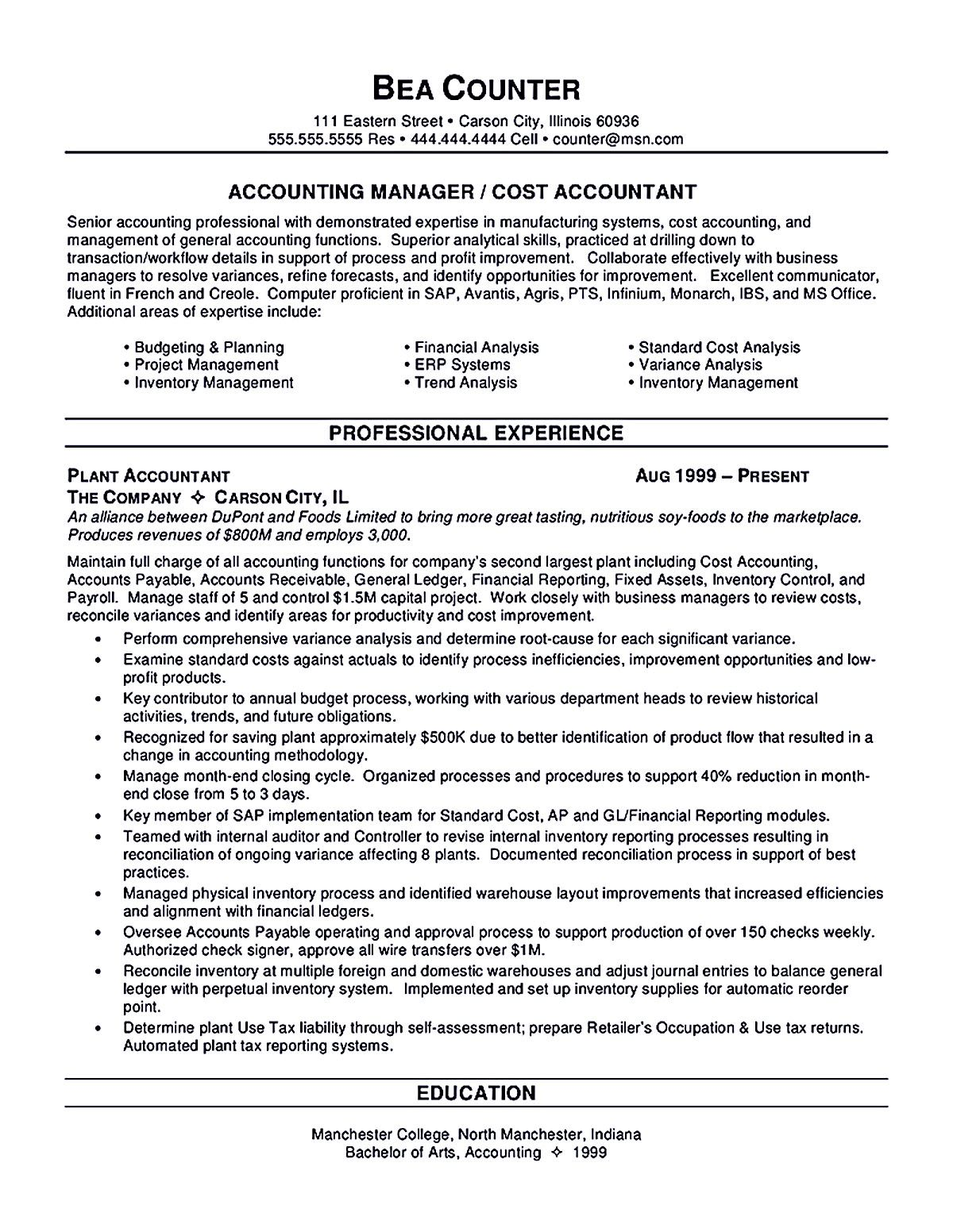 Accounting Sample Resume Captivating Writing Accountant Resume Sample Is Not That Complicated As How The .