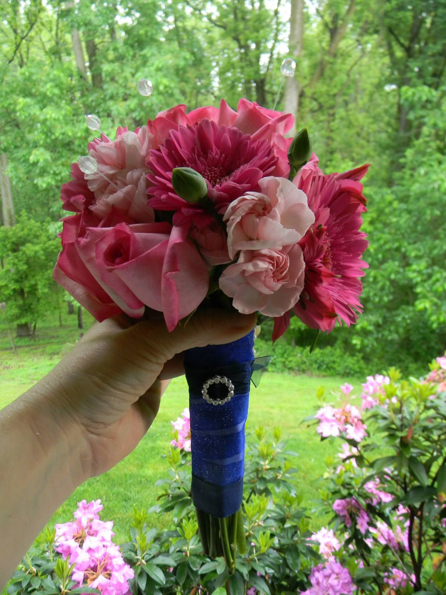 Hand Tied Prom Flower Bouquet For Royal Blue Dress Wedding And