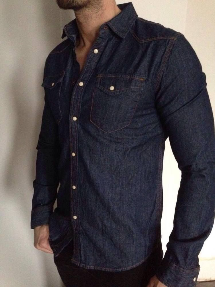 86215d4868b ZARA MAN DENIM COLLECTION SLIM FIT INDIGO SHIRT SIZE S   M BNWT ...