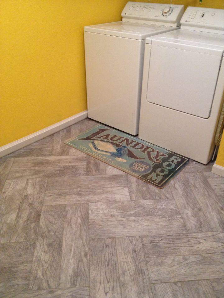 Faux Wood Tile Double Herringbone Pattern Laundry Room