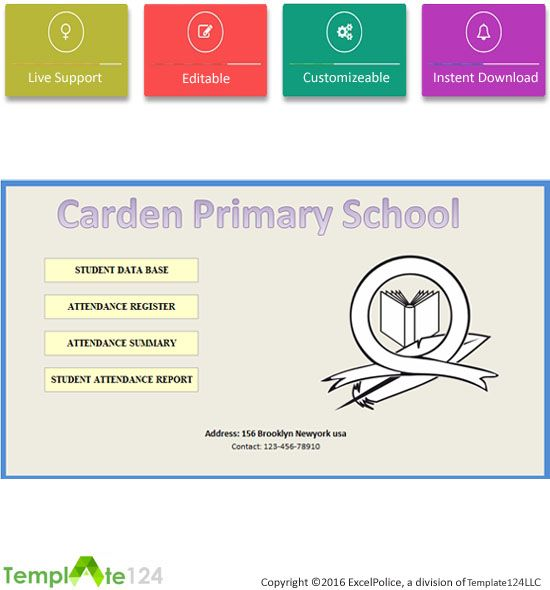 This template monthly school attendance report it is use for any