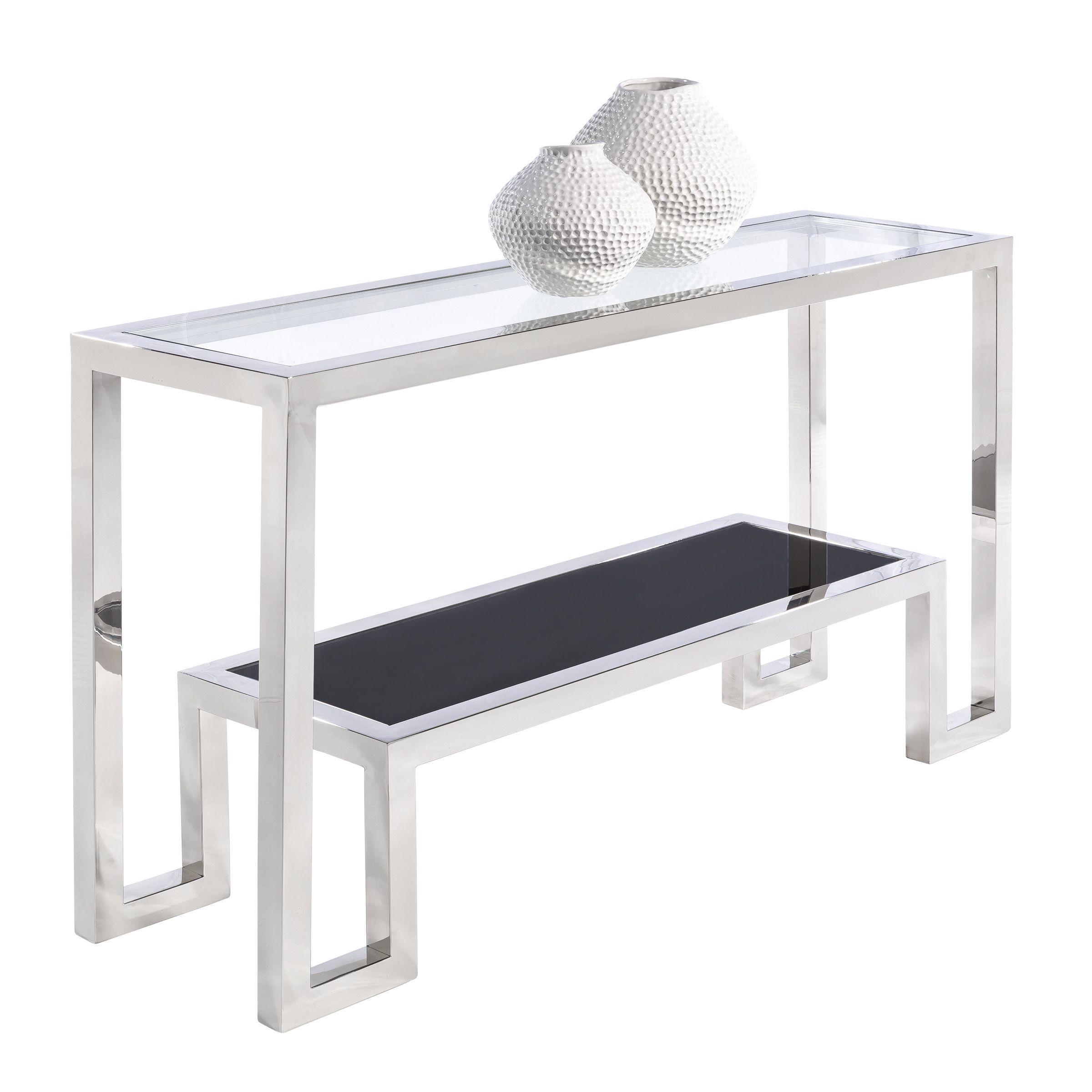 Glass console table with shelf sunpan uikonu storm console table storm console table silver