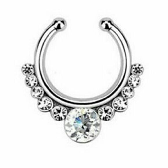 New silver tone clip on septum ring NWT Fake earrings