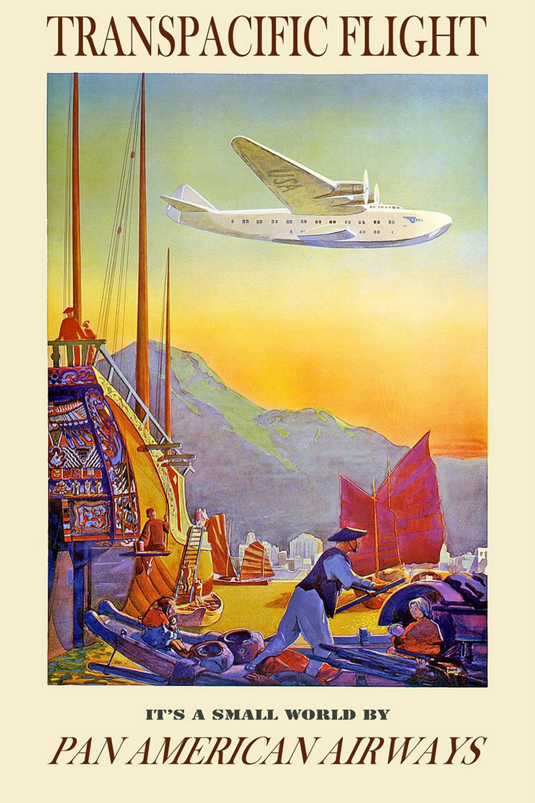 Fly to Alaska by Clipper Pan Am vintage air travel poster repro 16x24