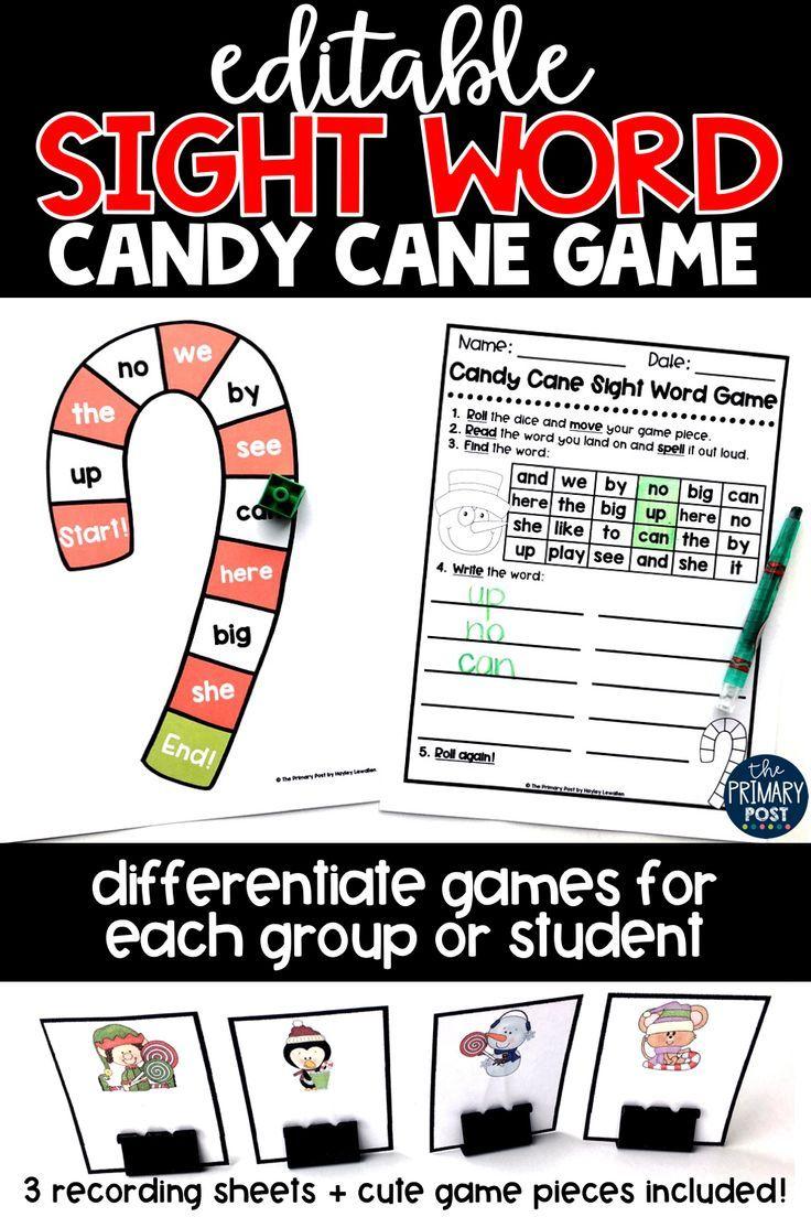 EDITABLE Candy Cane Sight Word Game Kindergarten Sight