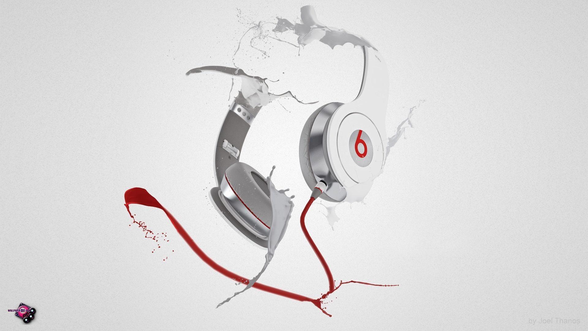 HD Background Beats Audio Logo Red Black Symbol Wallpaper 1366—768