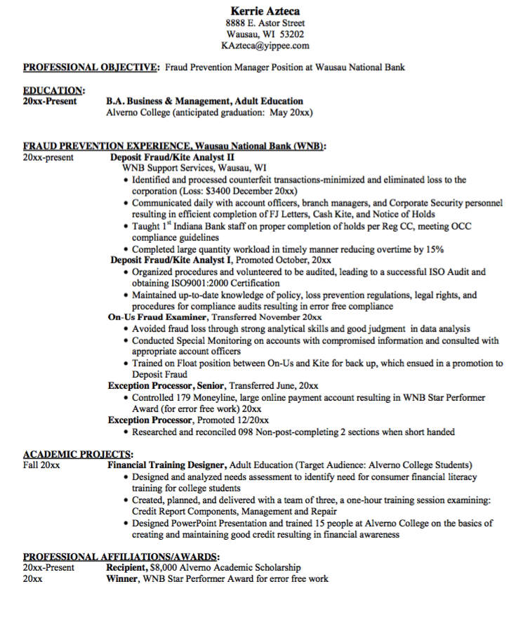 Manager Professional Objective Resume Sample  Http