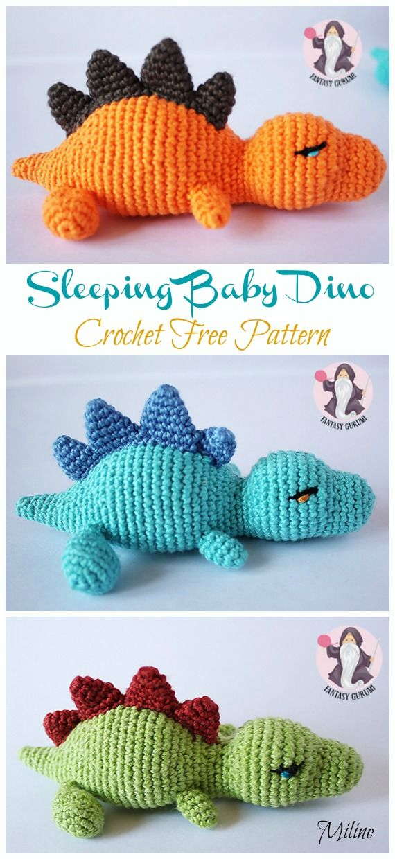 Amigurumi Baby Dinosaur Crochet Free Pattern #crochetdinosaurpatterns