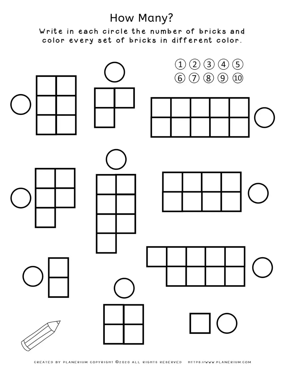 Numbers Worksheet How Many Blocks 1 10 Planerium In 2021 Free Math Worksheets Writing Numbers Learning Numbers [ 1294 x 1000 Pixel ]