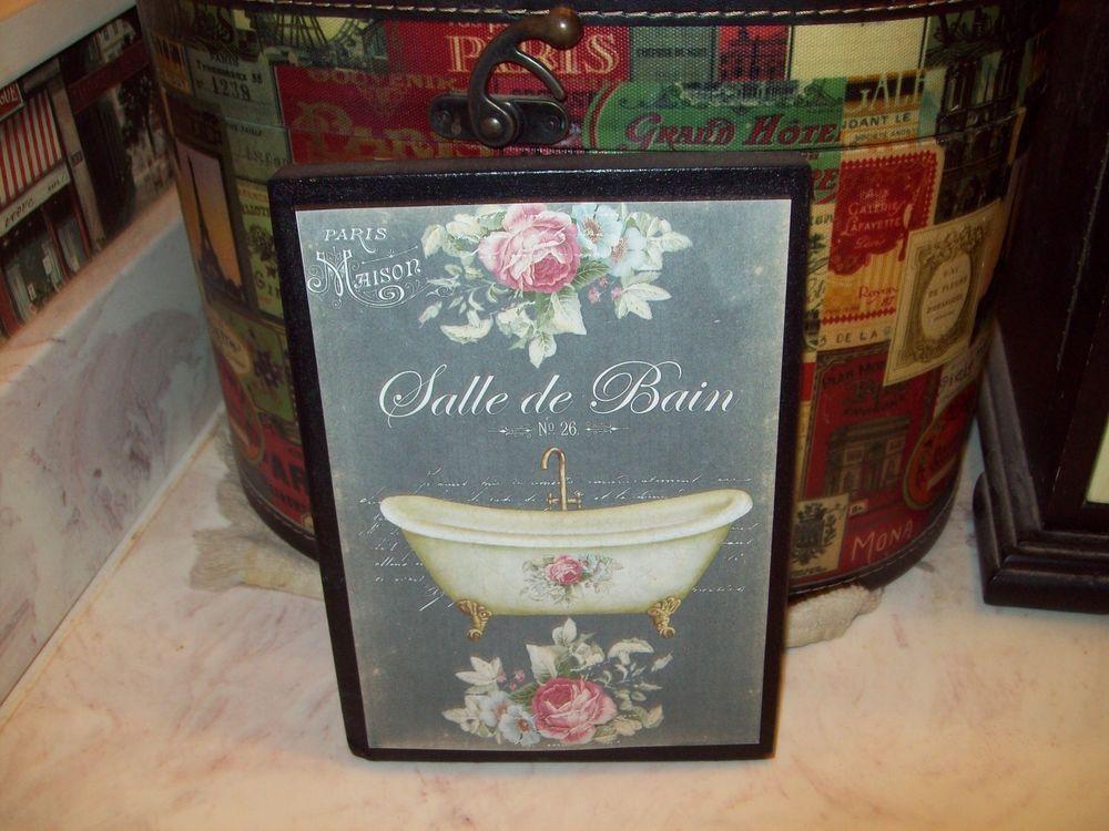 Bathroom Sign Ebay details about vintage french salle de bain sign block chalkboard