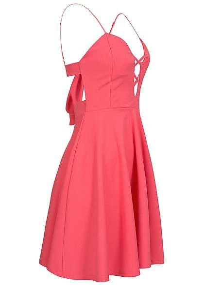 e4360eb696ee5e Styleboom Fashion Damen Mini Kleid Brustpads deko Schleife Rückenausschnitt  coral pink Styleboom Fashion Kleider