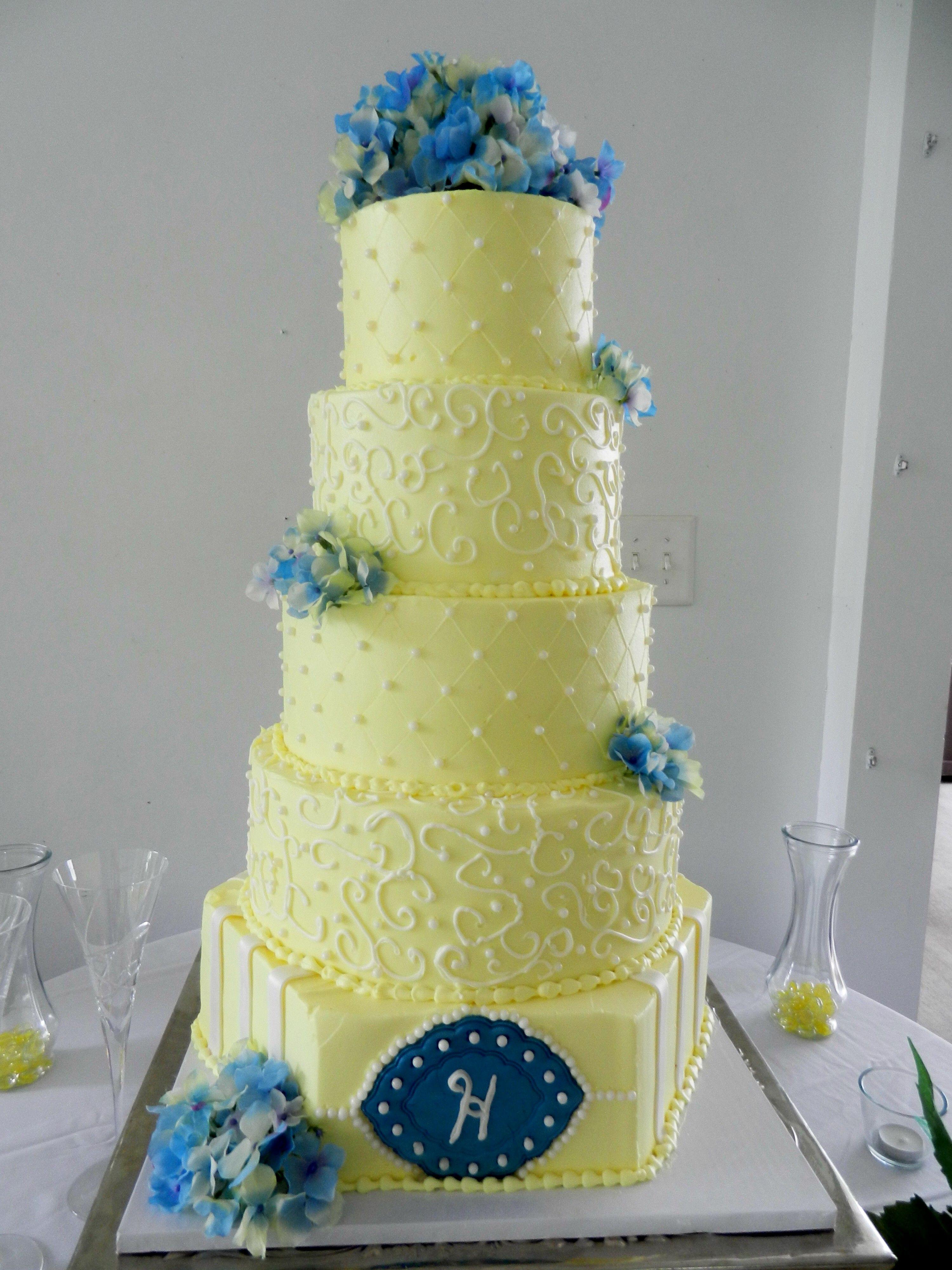 yellow wedding cake with scrolls Cheesecake Etc. | Hank & Beans Day ...