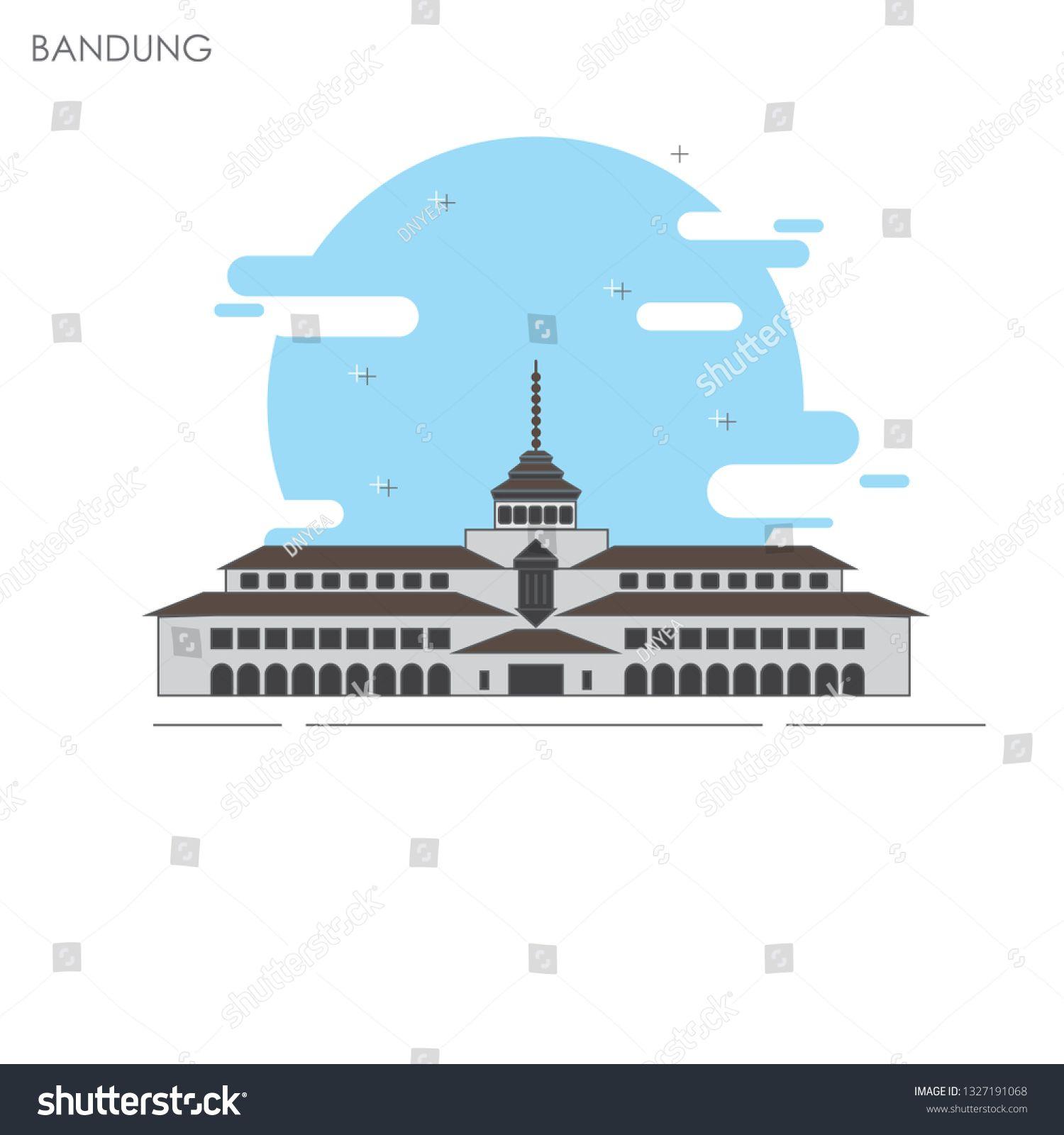 Gedung Satay Gedung Satay Bandung Icon Stock Vector Royalty Free 1327191068 Vector Images Bandung Image